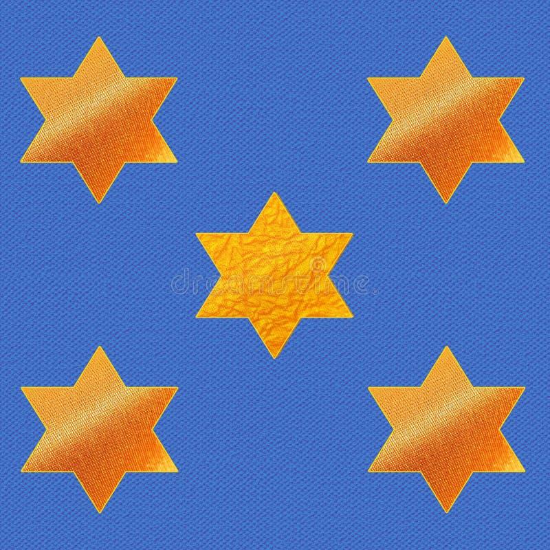 Estrellas de David en fondo azul de la tela stock de ilustración