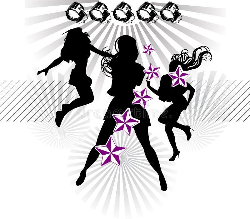 Estrellas de la demostración de la silueta de las muchachas stock de ilustración