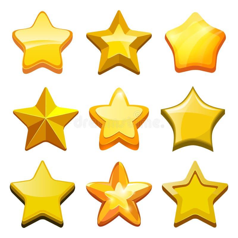 Estrellas de la historieta del juego El GUI de oro cristalino abotona iconos y la plantilla móvil del juego del vector de la barr ilustración del vector