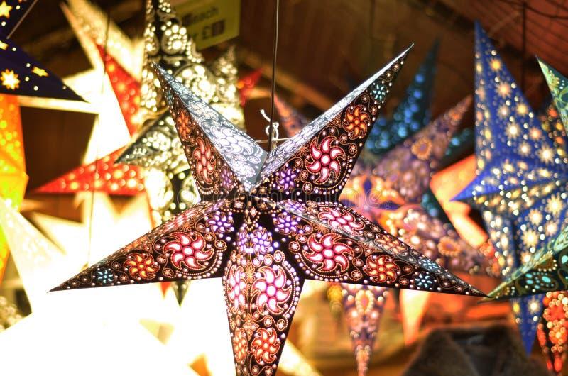 Estrellas de la Navidad de la ejecución foto de archivo libre de regalías