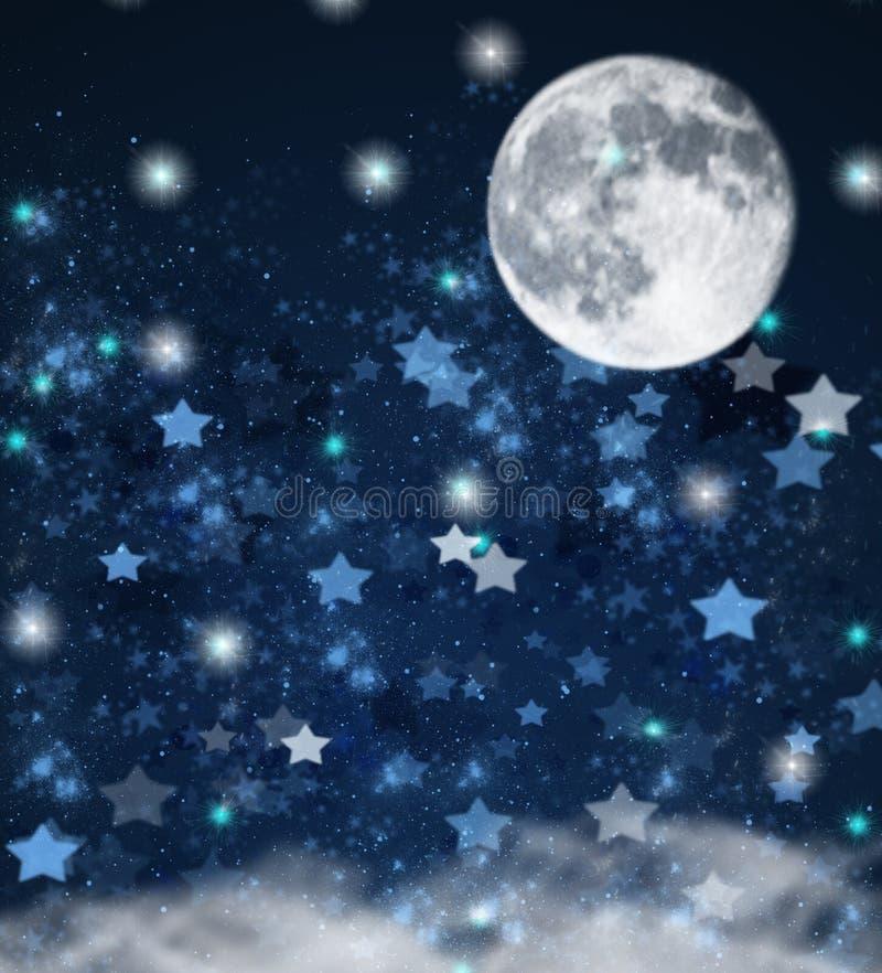 Estrellas de la Navidad y fondo de la luna libre illustration