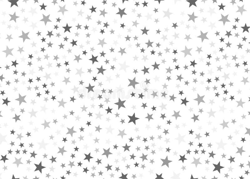 Estrellas de la plata en el fondo blanco Concepto festivo, del lujo o de la red de diseño gráfico stock de ilustración