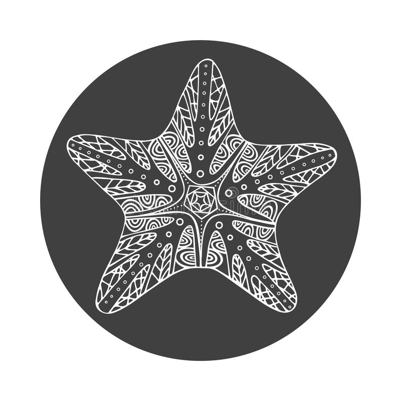 Estrellas de mar blancas dibujadas mano aisladas del esquema en fondo redondo negro Ornamento de la estrella de las líneas de la  stock de ilustración