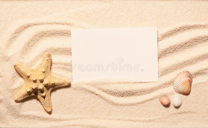 Estrellas de mar, concha marina de la concha de peregrino, piedras con la tarjeta blanca en la arena de la playa foto de archivo libre de regalías