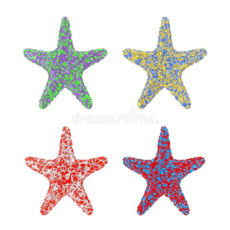 Estrellas de mar del Caribe multicoloras representación 3d libre illustration