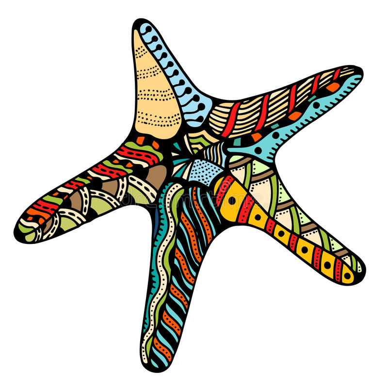 Estrellas de mar del zentangle del vector ilustración del vector