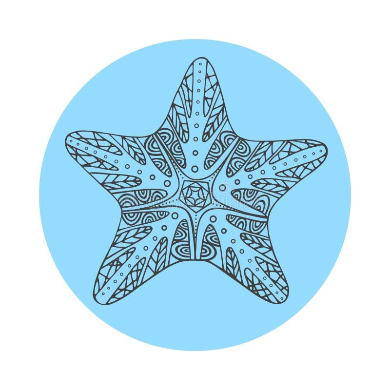 Estrellas de mar negras dibujadas mano aisladas del esquema en fondo redondo azul Ornamento de la estrella de las líneas de la cu stock de ilustración