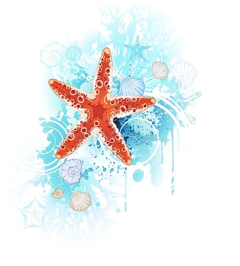 Estrellas de mar rojas stock de ilustración