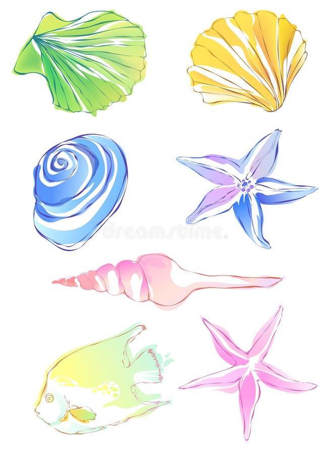 Estrellas de mar y concha stock de ilustración