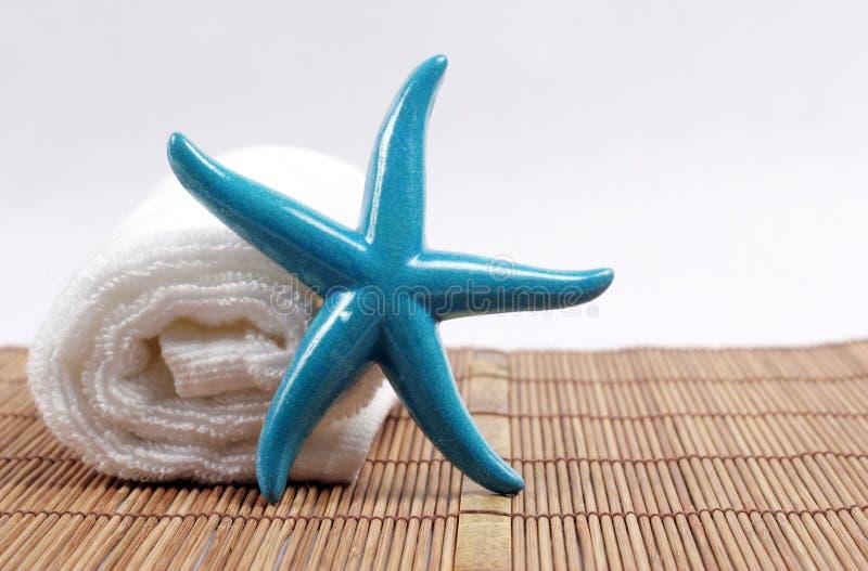 Estrellas de mar y toalla fotografía de archivo