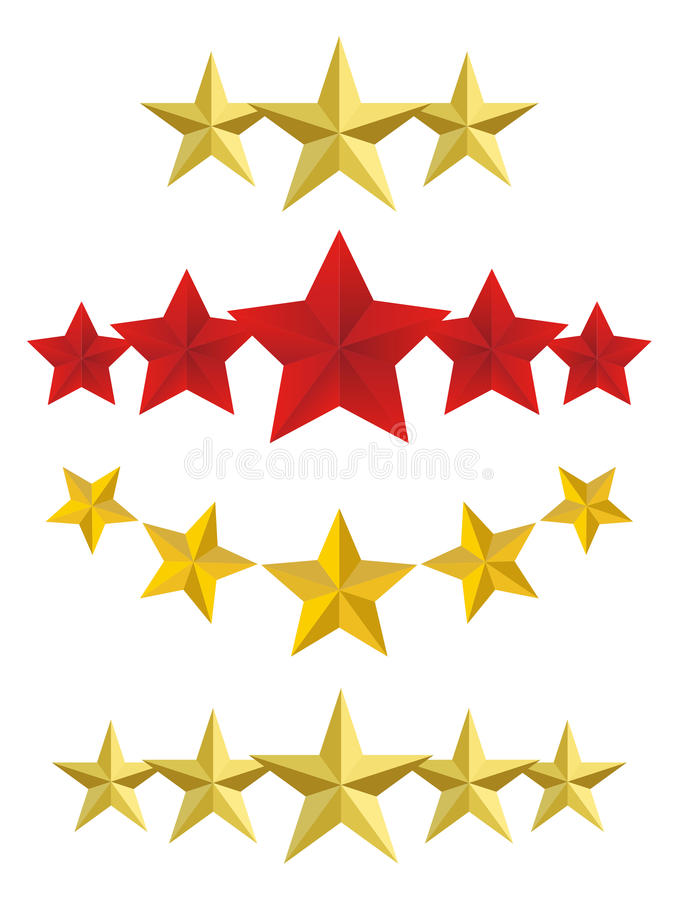 Estrellas de oro del vector cinco stock de ilustración