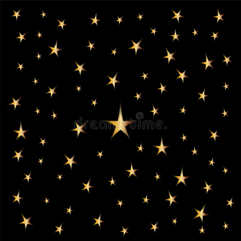 Estrellas de oro en fondo negro Conveniente para la materia textil, la tela, empaquetar y el diseño web Perfeccione para su diseñ ilustración del vector