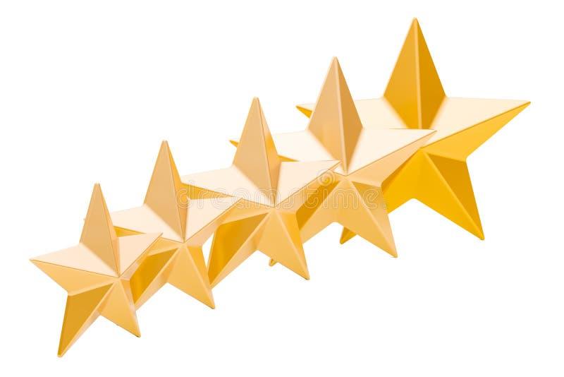 5 estrellas de oro que valoran el concepto, representación 3D stock de ilustración