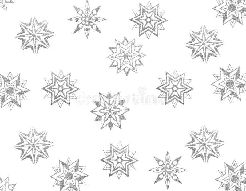 Estrellas de plata de la nieve del brocado stock de ilustración