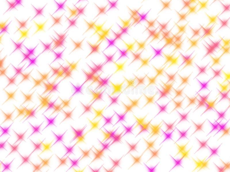 Estrellas del brillo del rosa y del amarillo en blanco ilustración del vector
