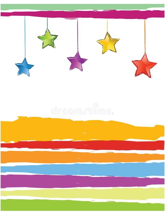 Estrellas del color de la tarjeta de Navidad stock de ilustración