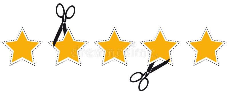 Estrellas del grado de producto con la línea de corte y las tijeras - ejemplo del vector - aisladas en blanco libre illustration