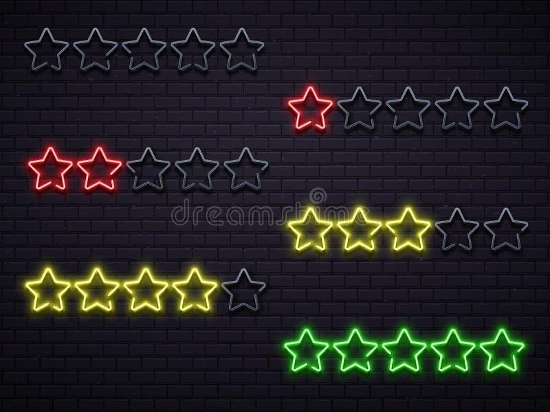 Estrellas del neón cinco Ejemplo iluminado de oro del vector de las lámparas de neones de la estrella stock de ilustración