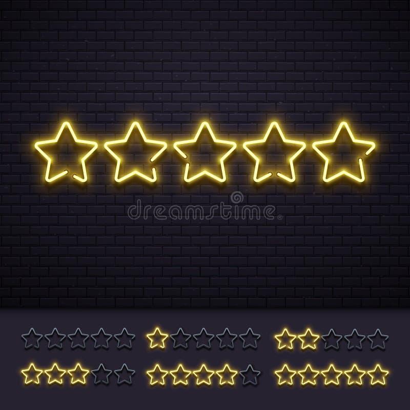 Estrellas del neón cinco Lámparas de neones iluminadas de oro de la estrella en la pared de ladrillo Ejemplo de lujo ligero del v stock de ilustración