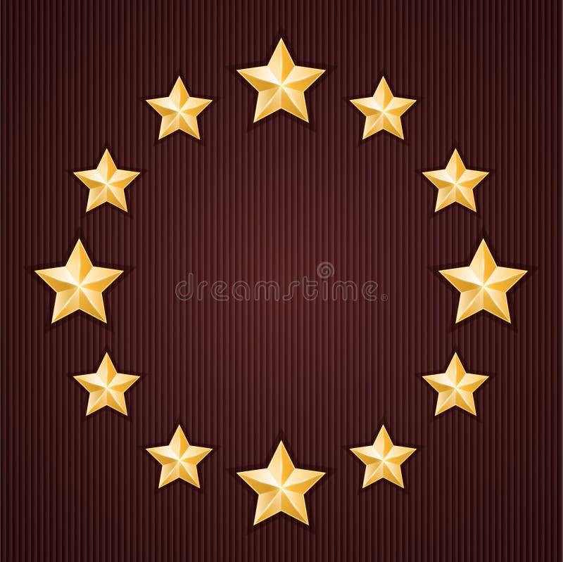 Estrellas del oro en fondo texturizado rojo ilustración del vector