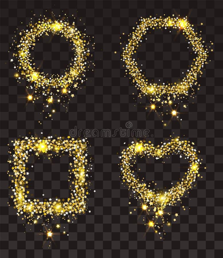 Estrellas del oro en fondo transparente El sistema del bastidor del oro protagoniza el rectángulo, forma del corazón, círculo, he stock de ilustración