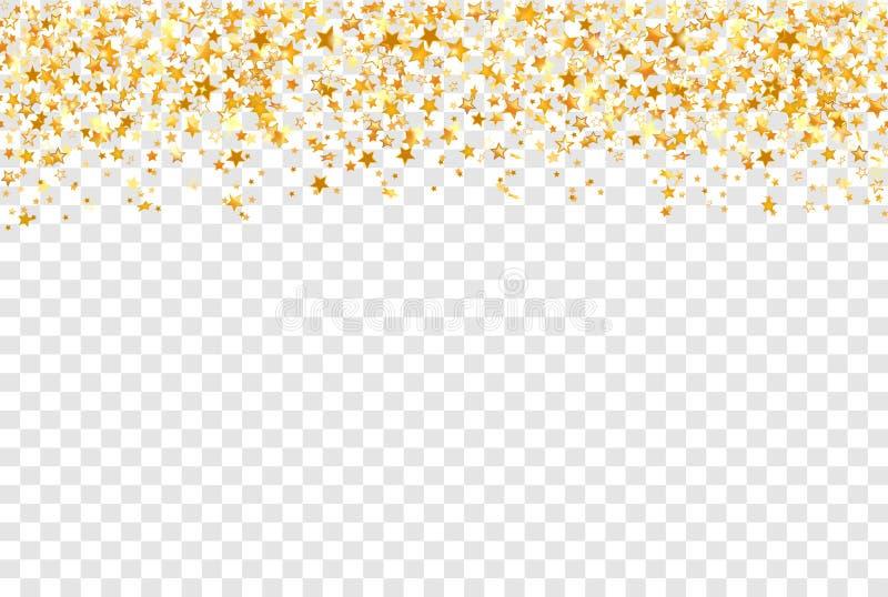 Estrellas del oro en fondo transparente Vector del backgdrop del día de fiesta libre illustration