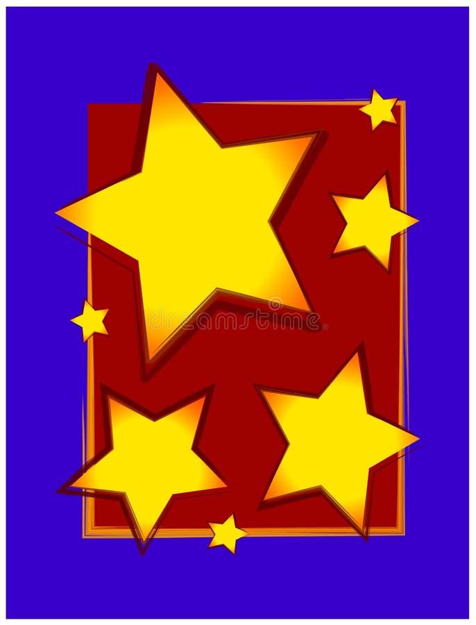 Estrellas del oro en la frontera azul roja stock de ilustración