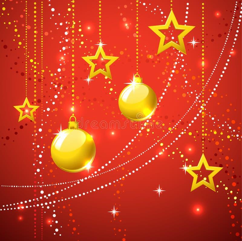 Estrellas del oro y fondo del d?a de fiesta de las bolas de la Navidad. fotografía de archivo