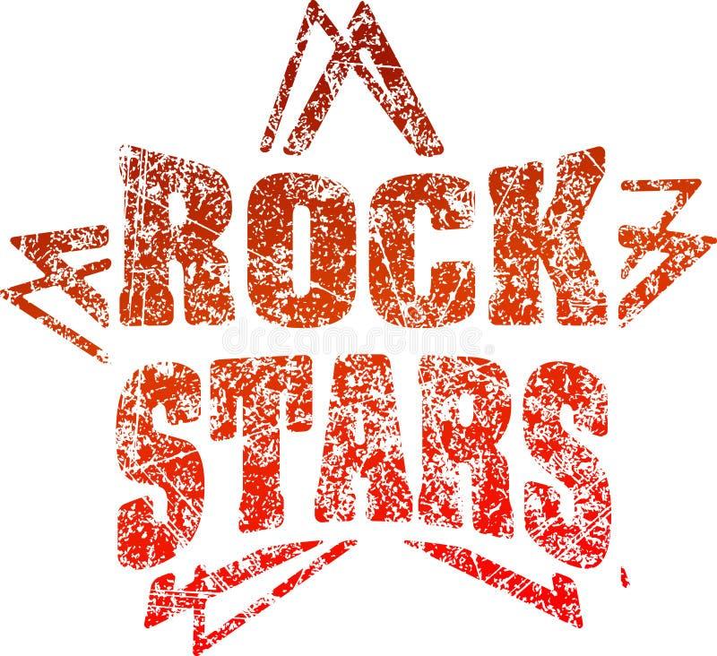 Estrellas del rock del sello de goma del estilo del Grunge en tonos rojos stock de ilustración