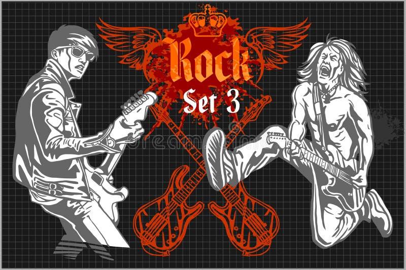 Estrellas del rock en el concierto de rock - sistema del vector ilustración del vector