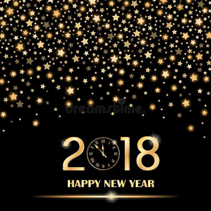 Estrellas el caer brillantes abstractas en fondo borroso ambiente negro Concepto 2018 del Año Nuevo libre illustration