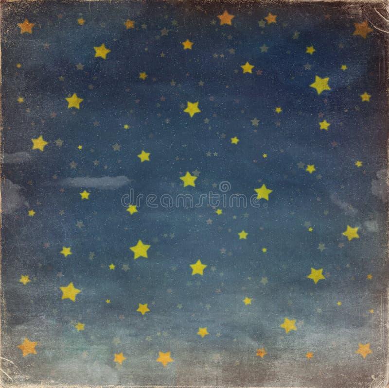 Estrellas en el cielo del grunge de la noche ilustración del vector