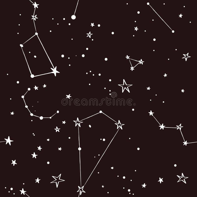 Estrellas en el modelo del cielo nocturno stock de ilustración