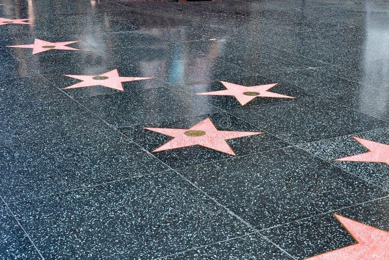 Estrellas en la caminata de Hollywood de la fama foto de archivo libre de regalías