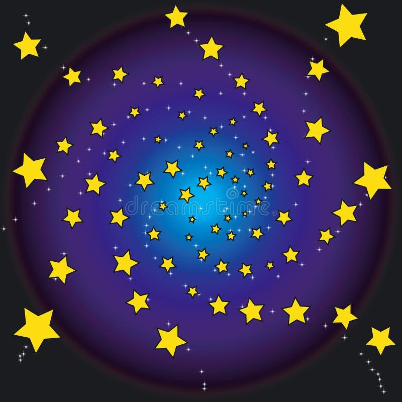 Estrellas en la noche stock de ilustración