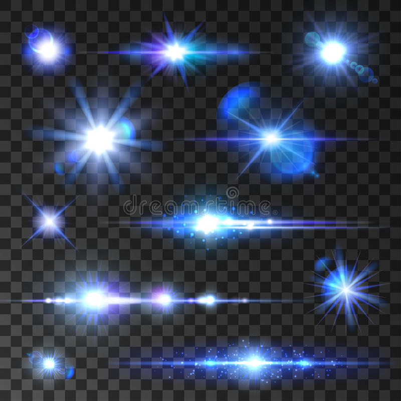 Estrellas fijadas Iconos de la estrella del centelleo, rayos brillantes ilustración del vector