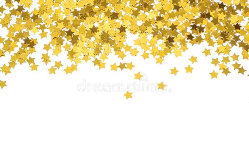 Estrellas frustradas del oro marco con las estrellas Frontera dispersada de las estrellas Textura frustrada natural fotos de archivo