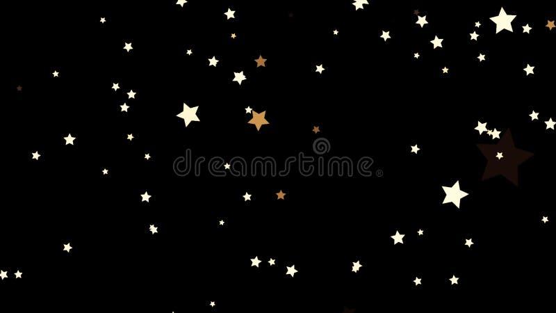 Estrellas fugaces hermosas, blancas de la parte inferior a rematar en el fondo negro, lazo inconsútil Vuelo pequeño, cinco-acentu ilustración del vector