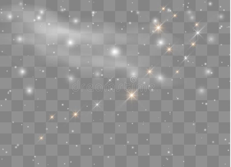 Estrellas ligeras del efecto del resplandor El vector chispea en fondo transparente Modelo abstracto de la Navidad Párticulas de  ilustración del vector
