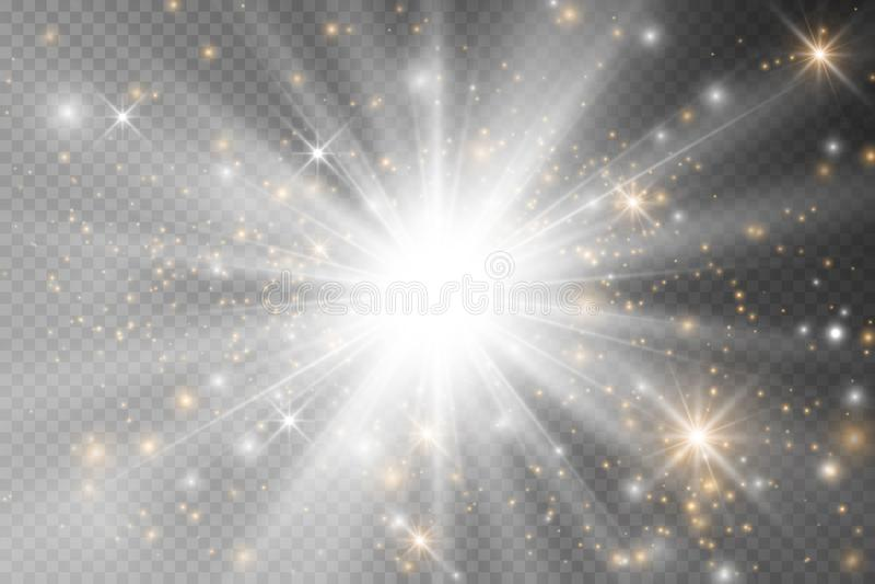 Estrellas ligeras del efecto del resplandor El vector chispea en fondo transparente Modelo abstracto de la Navidad P?rticulas de  ilustración del vector
