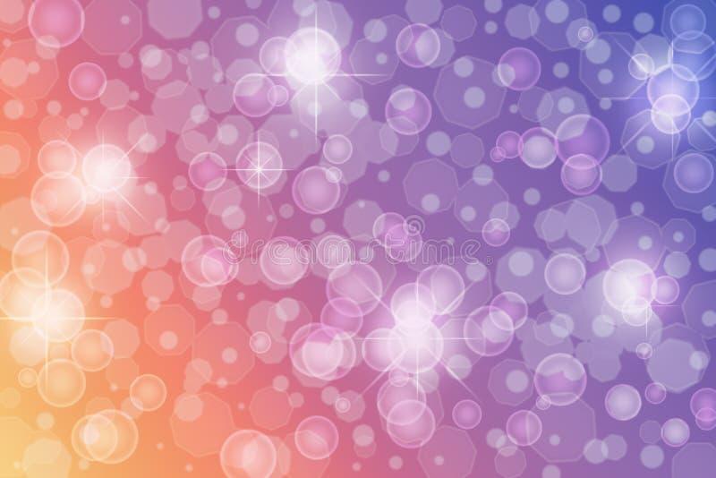 Estrellas, luces, chispas y burbujas abstractas del centelleo en fondo azul, púrpura, violeta y anaranjado foto de archivo libre de regalías