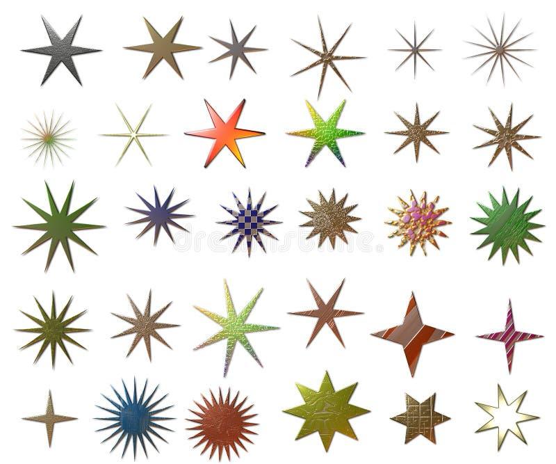 Estrellas metálicas ilustración del vector