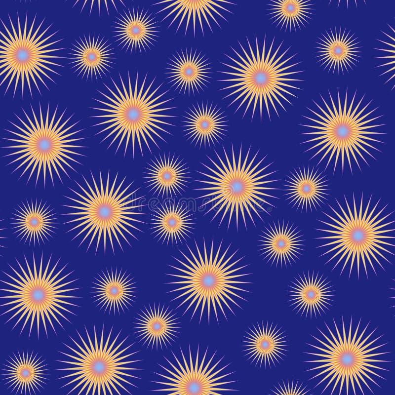 Estrellas naranja-amarillas en azul ilustración del vector