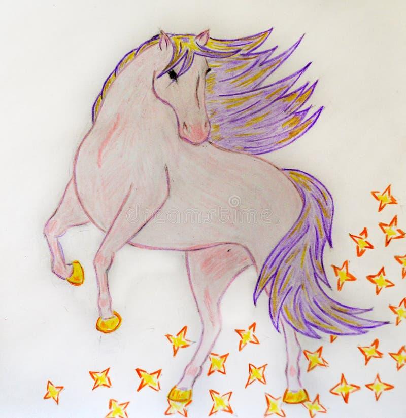 Estrellas que se encabritan del caballo mágico libre illustration