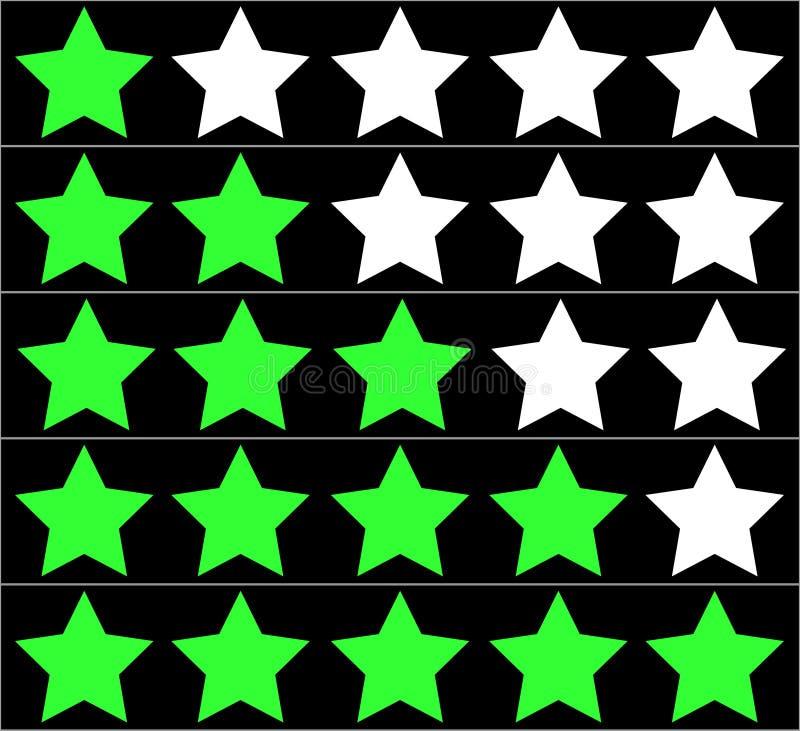 Estrellas que valoran en fondo negro Clasificación de cinco estrellas fotografía de archivo