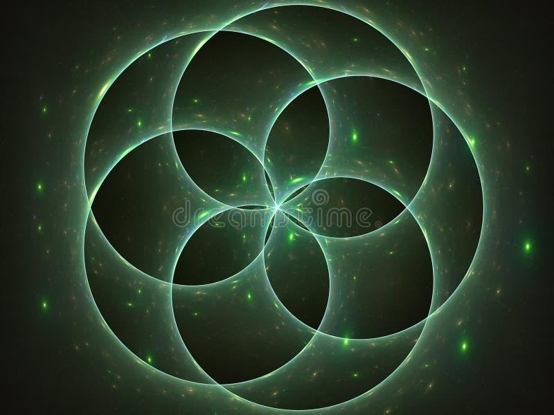 Estrellas radiantees detrás de círculos libre illustration