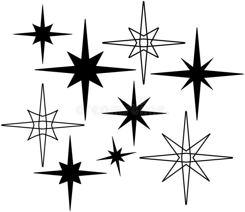 Estrellas retras 7 stock de ilustración