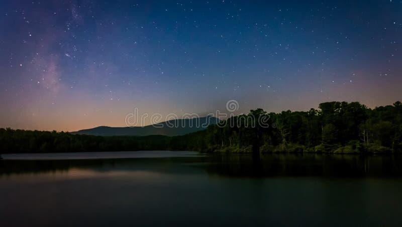 Estrellas sobre Julian Price Lake en la noche, a lo largo de Ridge Park azul fotografía de archivo