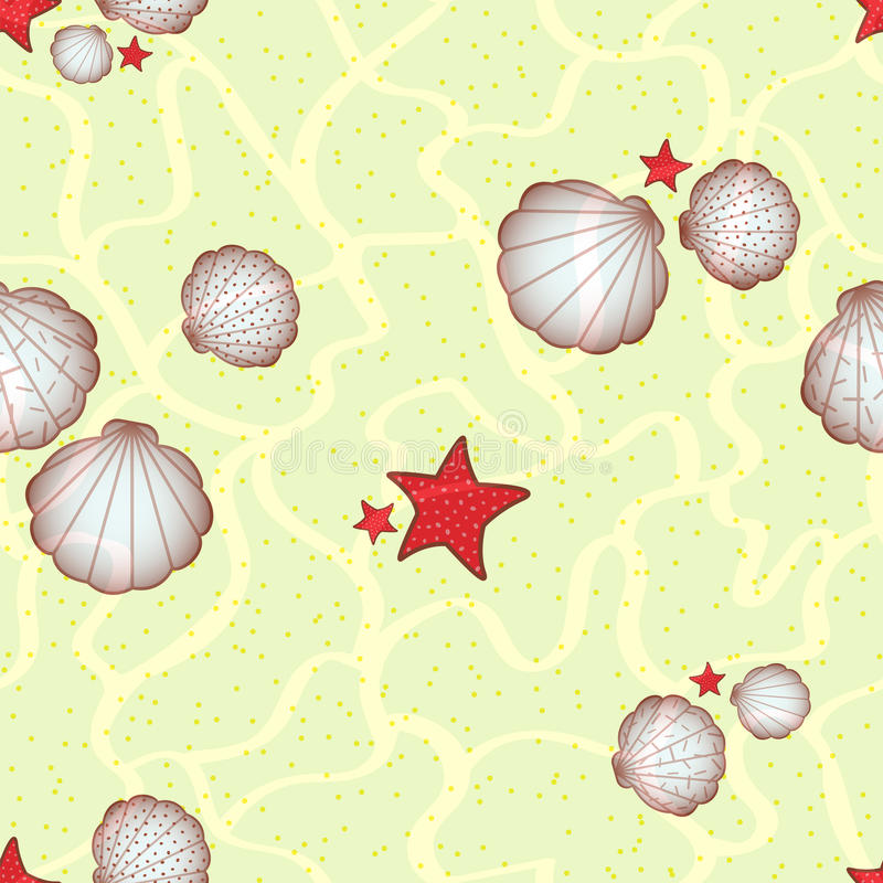 Estrellas y conchas marinas de mar en la parte inferior de mar arenosa ilustración del vector
