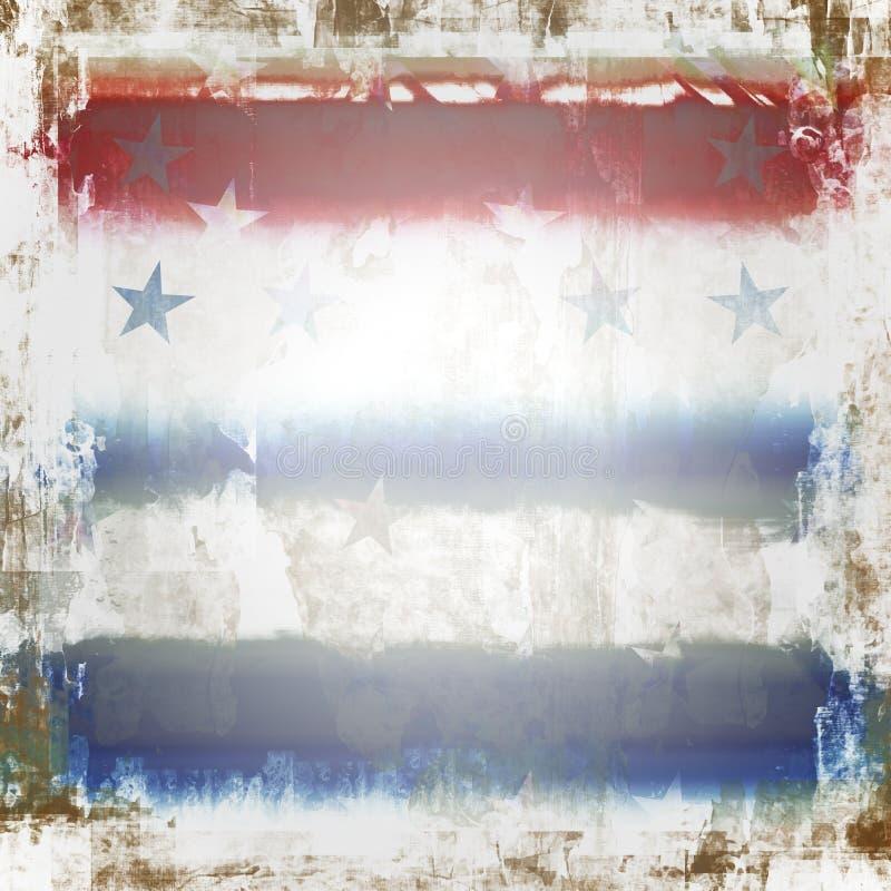 Estrellas y grunge patrióticos de las rayas ilustración del vector